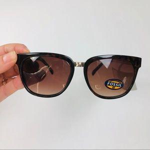 NWT Fossil tortoise square sunglasses metal